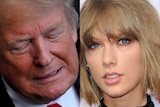 Composite image: Donald Trump grimacing on the left, Taylor Swift looking towards the camera, neutral expression on the right