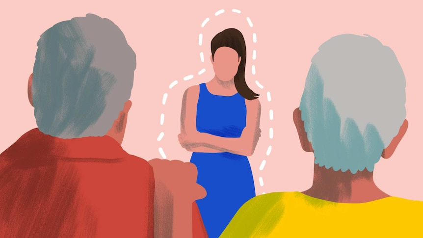 Illustration of adult woman facing her two parents in a story about tips for setting boundaries with parents.