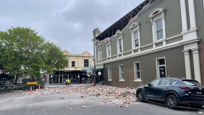 Rubble on a street following an earthquake