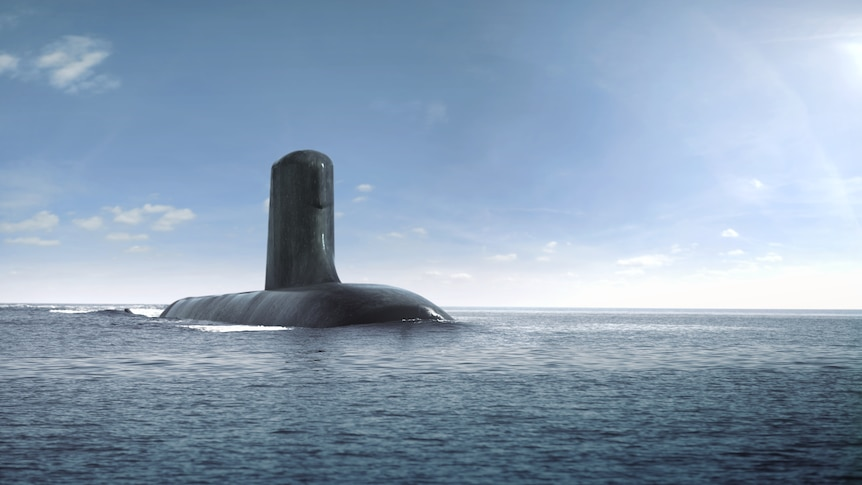 A computer generated image of a black submarine coming up out of the water in the ocean