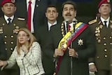 The Venezuelan President and his wife at the military event.