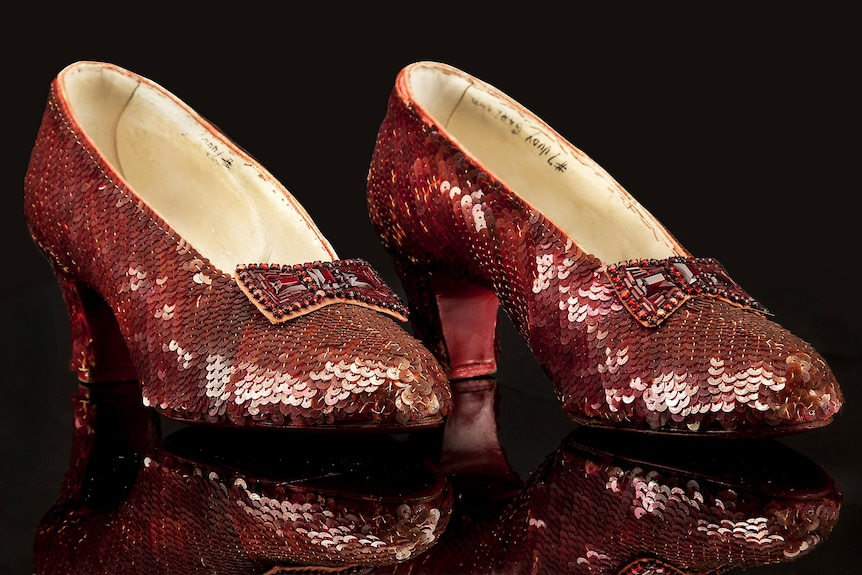 A pair of the Ruby Slippers worn by Judy Garland in the 1939 movie, Wizard of Oz.
