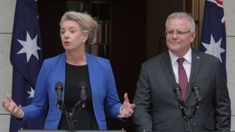 Bridget McKenzie and Scott Morrison stand at lecterns in a courtyard with Australian flags behind them.