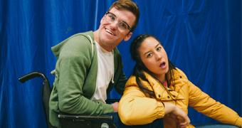 Angus Thompson and Nina Oyama posing for their ABC comedy web series The Angus Show.