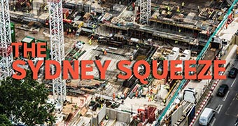 Sydney Squeeze graphic with construction site