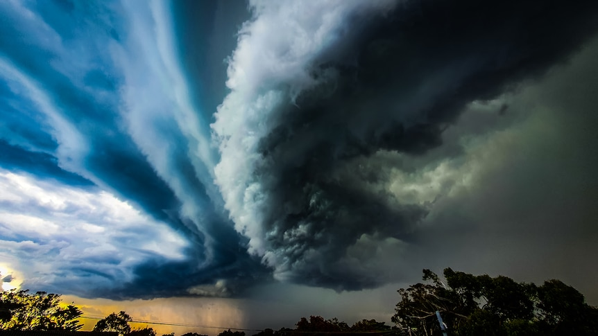 Vivid green and blue storms clouds