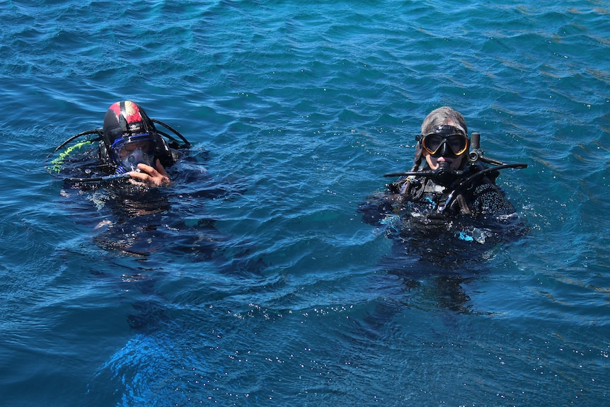 She is pictured in the water in scuba gear, bobbing on the surface with another diver