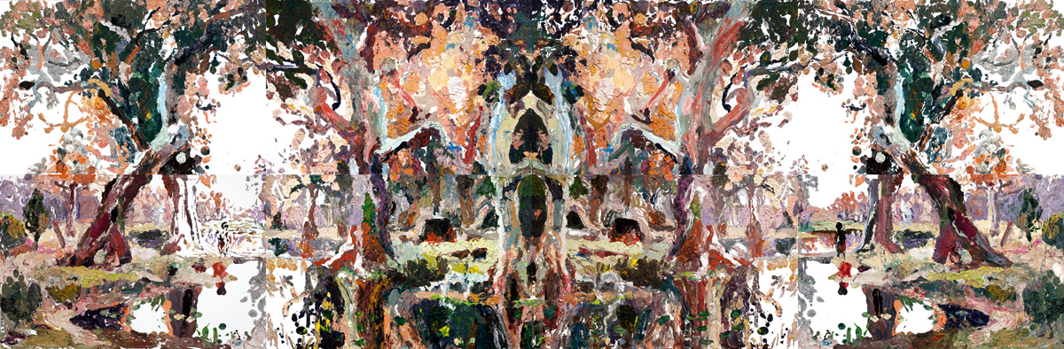 Colourful oil painting on canvas 2.3 metres tall and 7 metres wide. Image is Rorschach style that reveals a mirrored landscape.