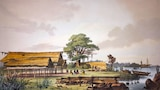 A lithograph showing wooden shelters and canoes on a grassy foreshore.