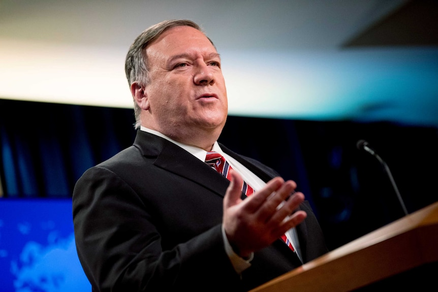 US Secretary of State Mike Pompeo speaks at a news conference.