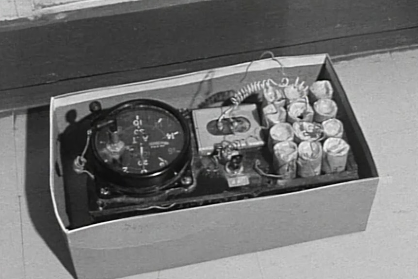 The bomb planted in an airport locker as part of the 1971 Qantas bomb hoax.