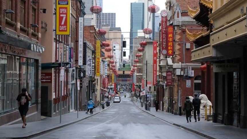 餐馆林立的墨尔本中国城在新冠疫情期间门庭冷落。