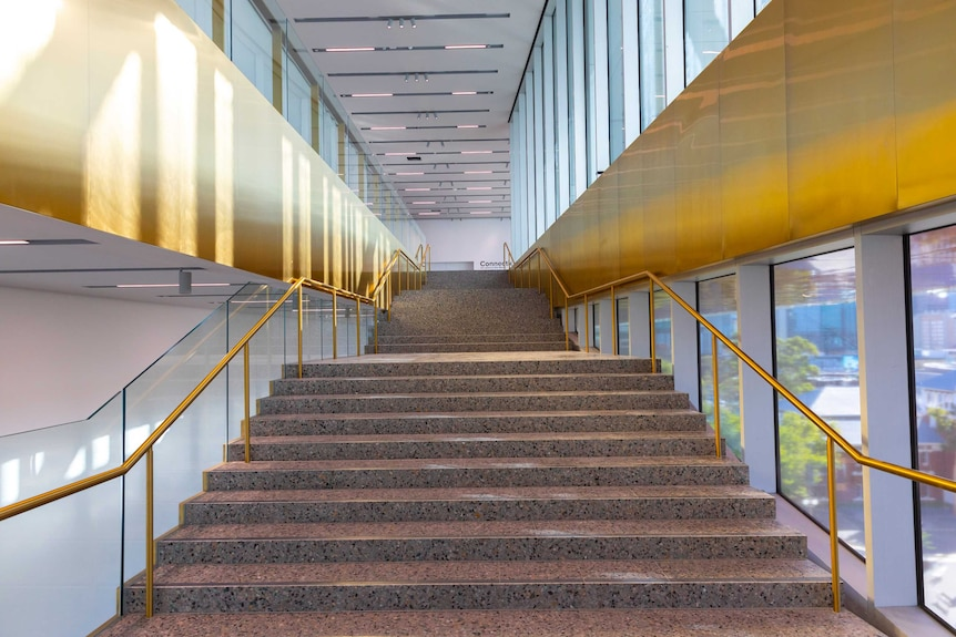 The staircase inside the new WA museum.