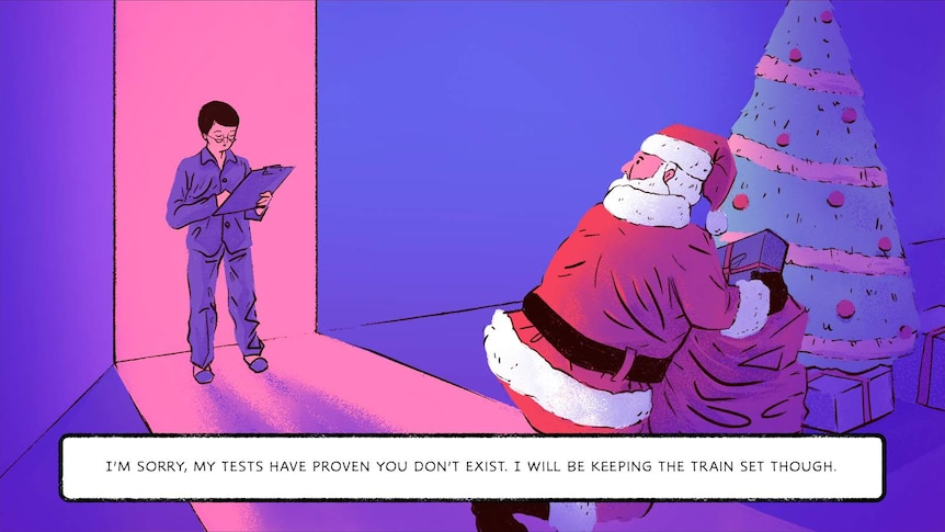 Illustration of young boy seeing Santa and saying 'My tests have proven you don't exist. I will be keeping the train set though'
