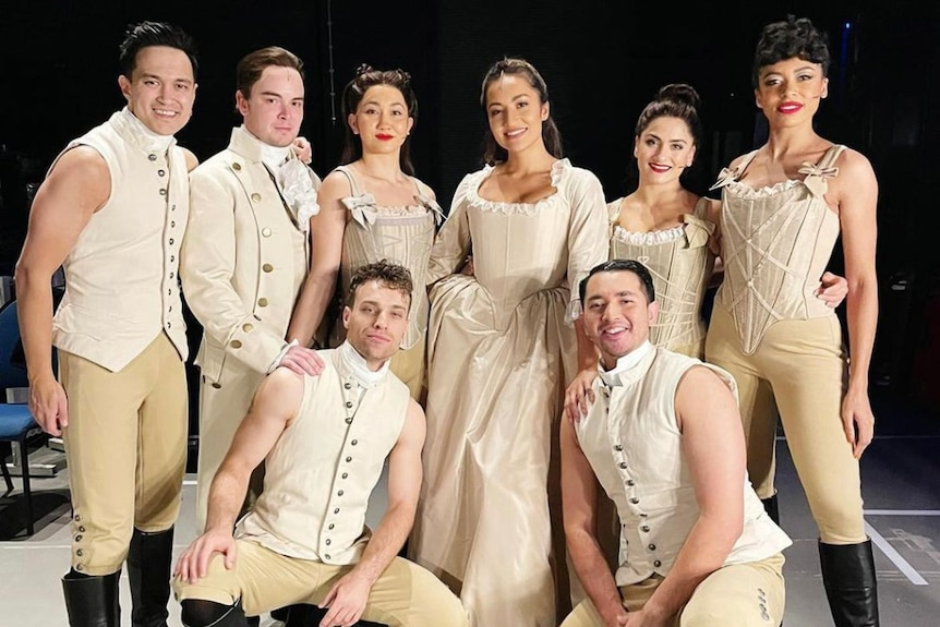 A backstage photo of some of the cast of Hamilton in Sydney