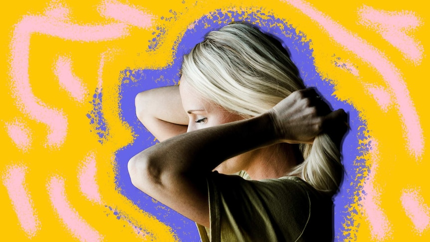 Woman holding her hair with a purple and yellow background to depict a story about painful sex.