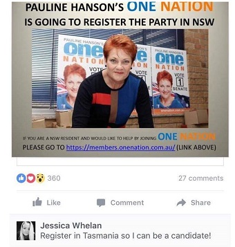 """A screenshot shows a comment from Jessica Whelan account saying """"Register in Tasmania so I can be a candidate!"""""""