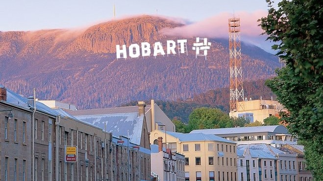 A satirical image of the Hobart City Council logo replicates sign in Hollywood Hills on the parody Facebook account.