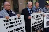 Supporters of those sexually abused outside the Royal Commission in Perth