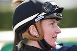 A female jockey after a race in Geelong in 2021.