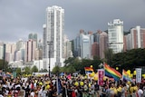 People take part in the LGBT parade in Hong Kong