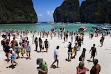 Crowds of tourists gather at Maya Bay, made famous by The Beach.
