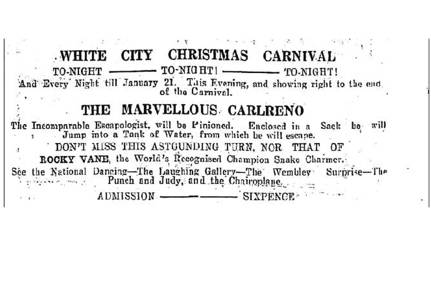 An advertisement for White City in the Daily News.  Monday January 16, 1928