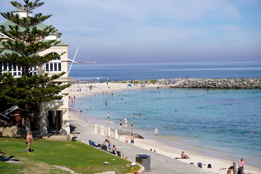A wide shot of Cottesloe Beach with the Indiana Teahouse and swimmers in the background.