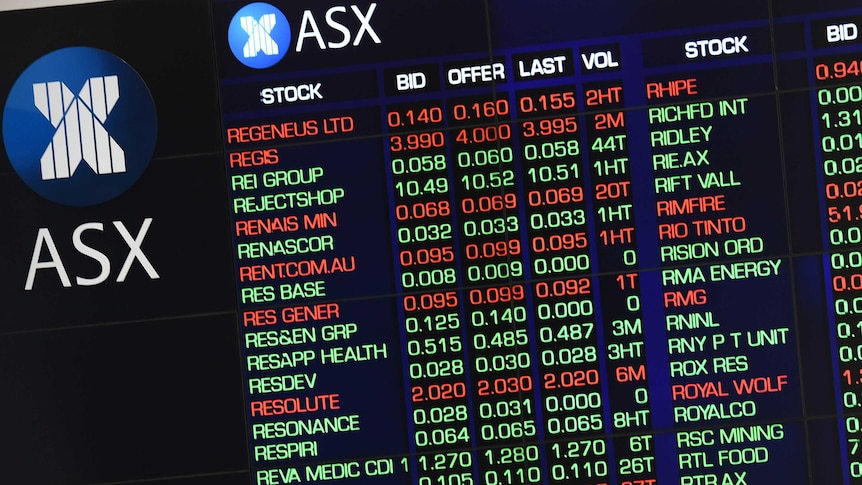 Market gains are displayed on the Australian Stock Exchange (ASX) trading board in Sydney, Thursday, Sept. 29, 2016.
