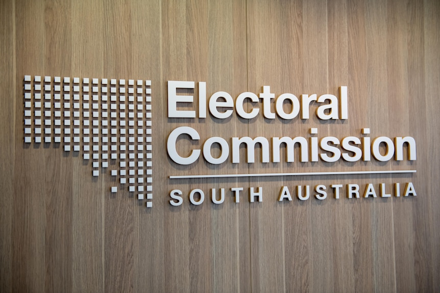 A sign inside the Electoral Commission SA's headquarters.
