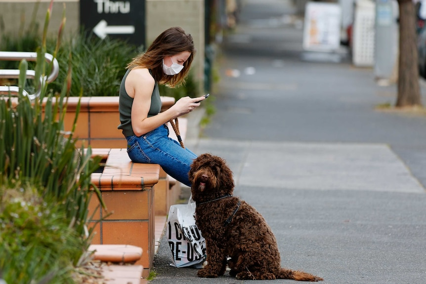 A woman wearing a mask and holding a dog on a leash looks at her phone.