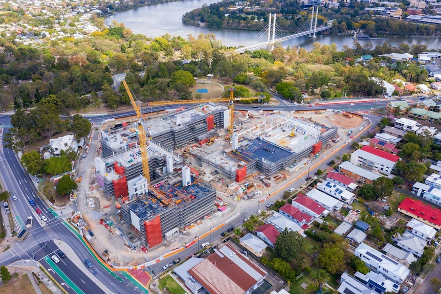 An aerial shot of Brisbane South State Secondary College under construction. Shots taken in September 2020.