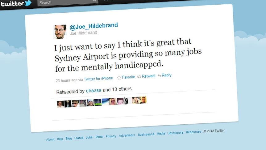 "Joe Hildebrand's mentally ""handicapped"" tweet (Twitter)"