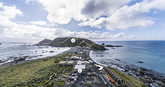 A custom image of a virtual tour of Macquarie Island.