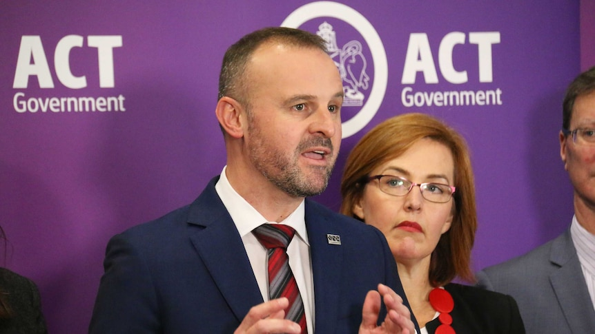 Andrew Barr speaks at a press conference.