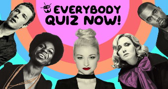 Kate Miller-Heidke, Kanye West and other musicians around text saying Everybody quiz now