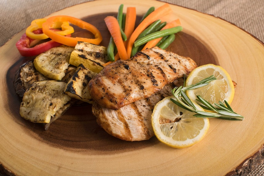Plate of grilled chicken and vegetables