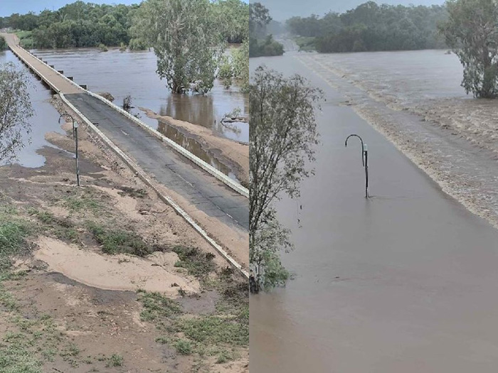 Before and after photos of the flooded Gulf Development Road in north Queensland.