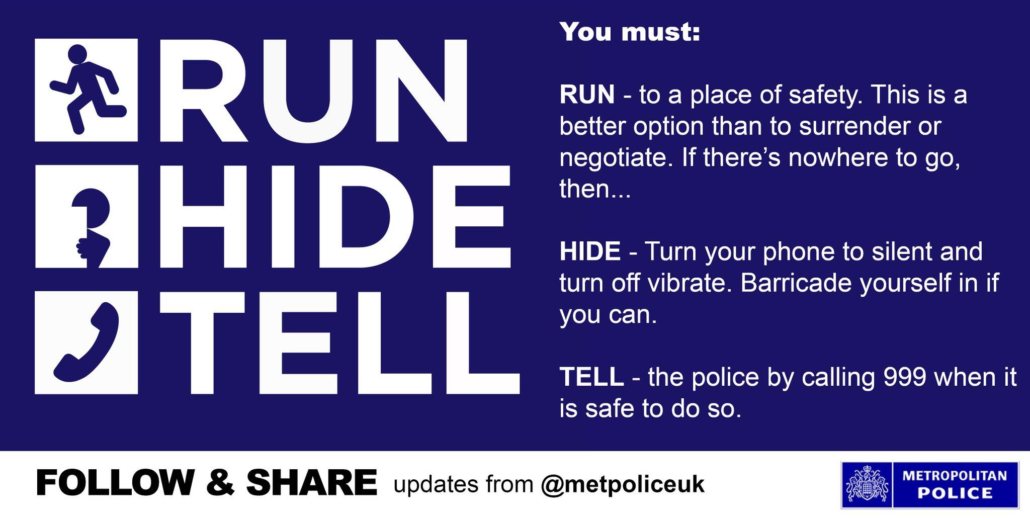 "The original ""Run, Hide, Tell"" image tweeted out by London Metropolitan Police."