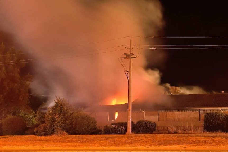 Fire at the abandoned building.