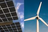 Solar power panels (L) and wind turbine.