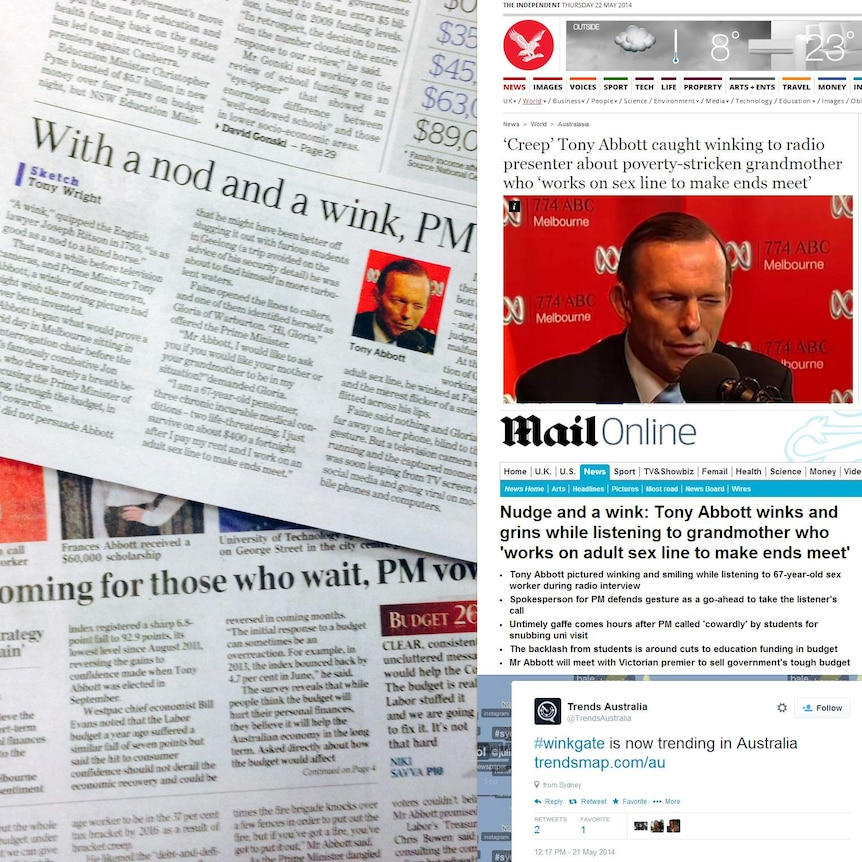 Newspapers and online media cover Tony Abbott's reaction to 67-year-old sex line worker
