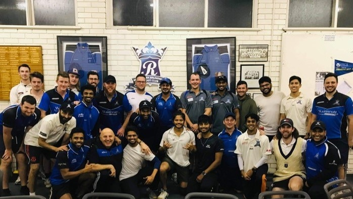 Royal Park Brunswick Cricket Club squad pose for a photograph