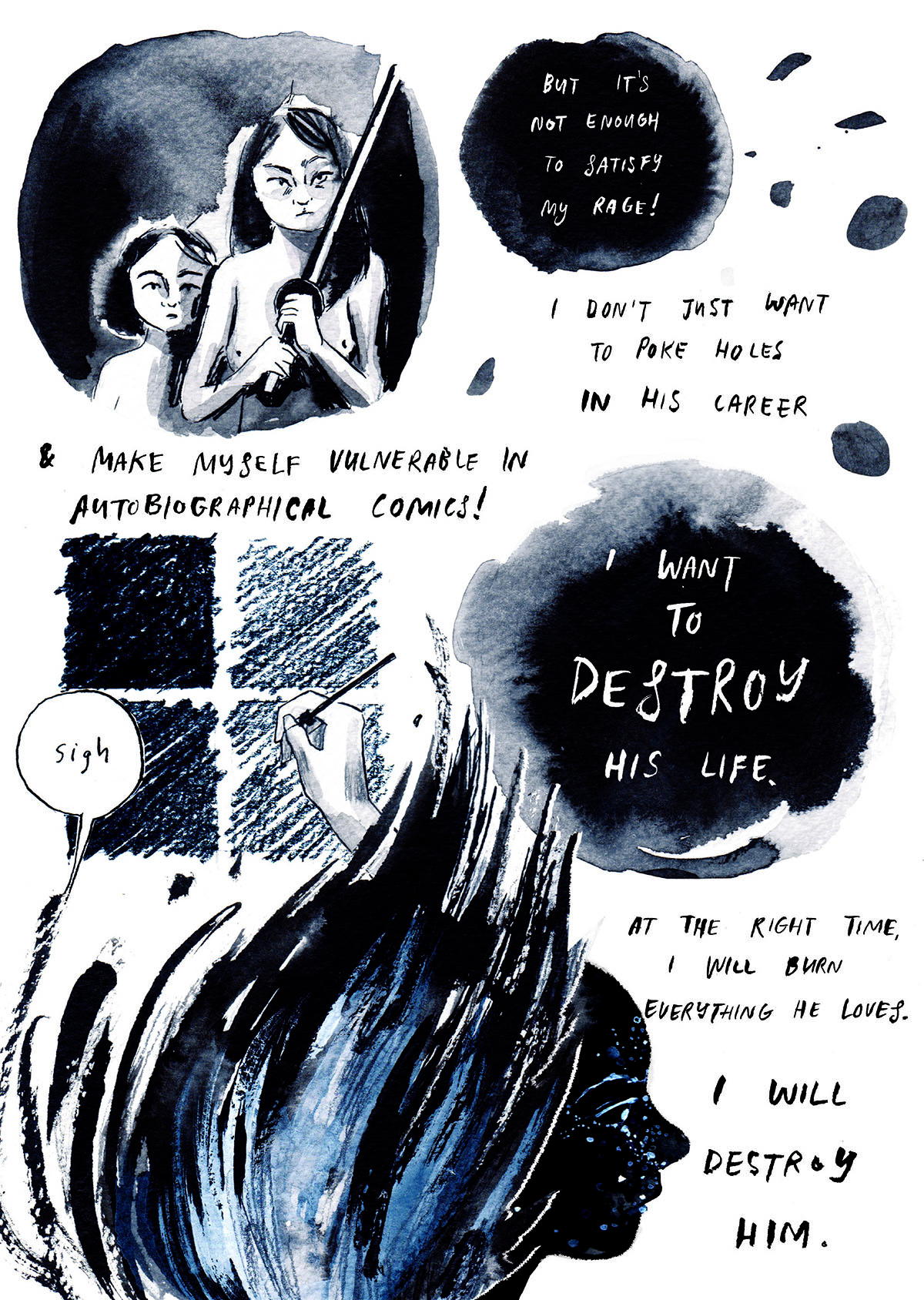 Excerpt from Destroy Everything You Touch comic by Rachel Ang and features water colour illustrations and figures on white paper
