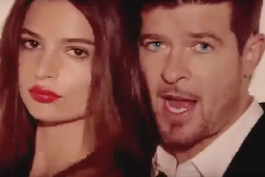 A screengrab from Robin Thicke's Blurred Lines film clip