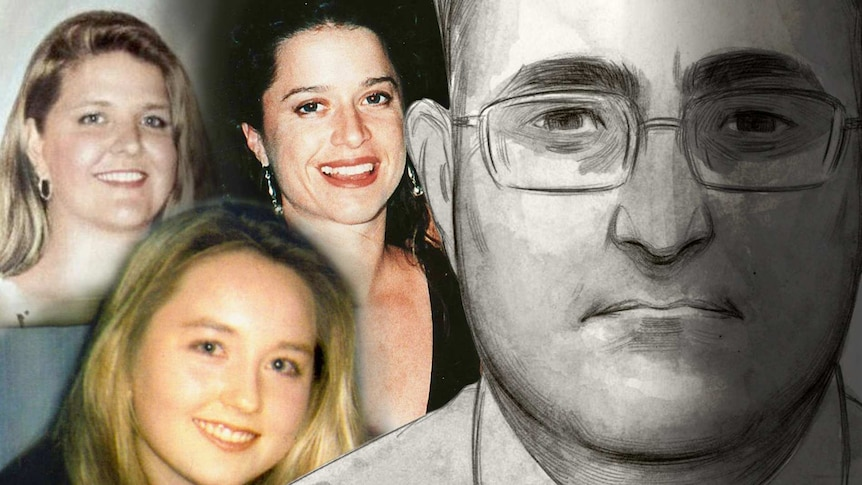 Montage with colour headshots of three smiling women next to a large headshot sketch of a man.