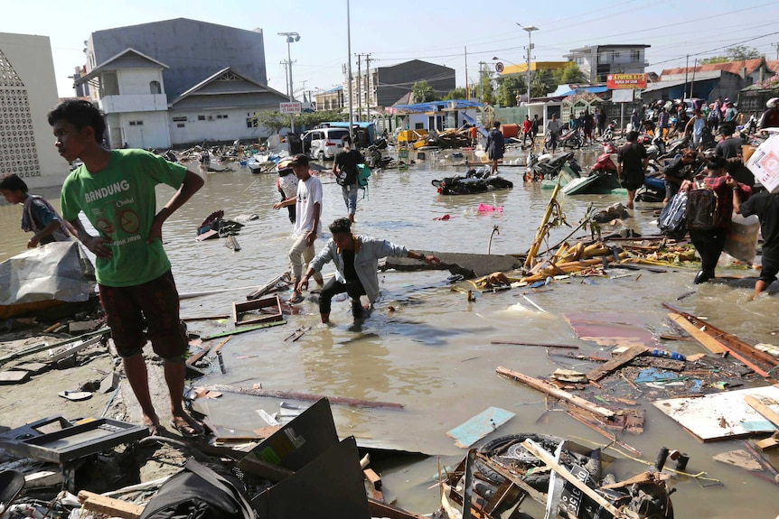 Water and wreckage in Indonesia