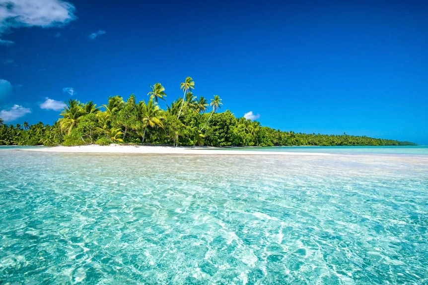 An island with white sandy beaches, turquoise water, swaying palms and blue sky.