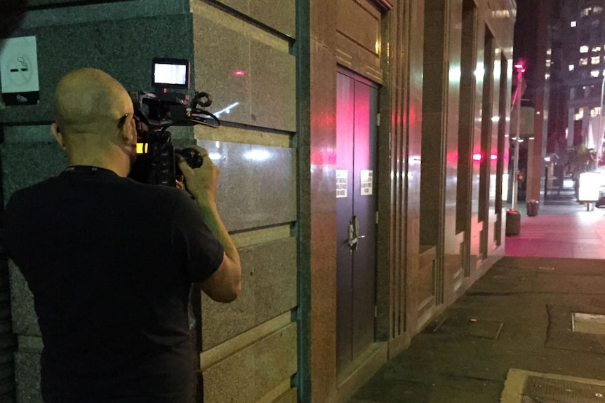 Louie Eroglu filming a deserted Martin Place in the early hours of the morning in December, 2016.
