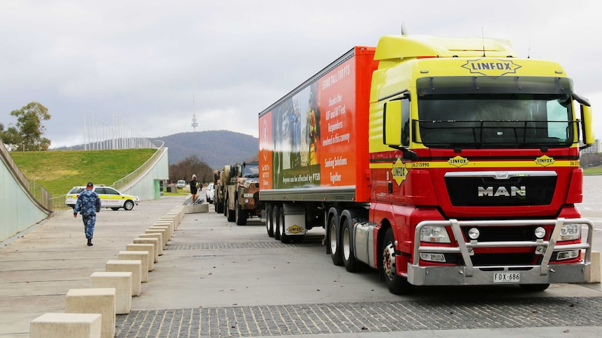 The Lightning bolt convoy lined up by lake burley griffin.